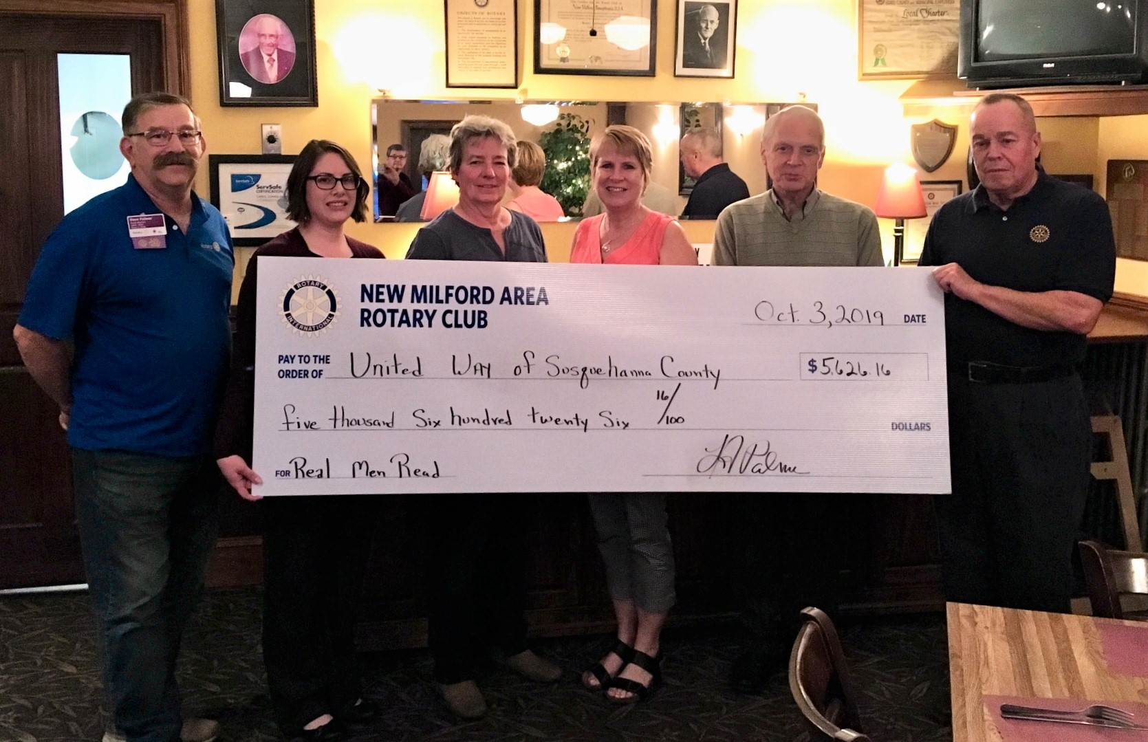 New Milford Area Rotary Supports United Way's Real Men Read Program